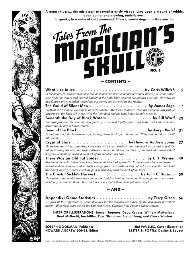 Table of Contents for Tales From the Magician's Skull 1