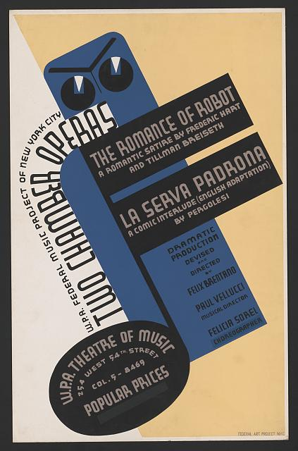 1937 W.P.A. Federal Music Project The romance of robot poster