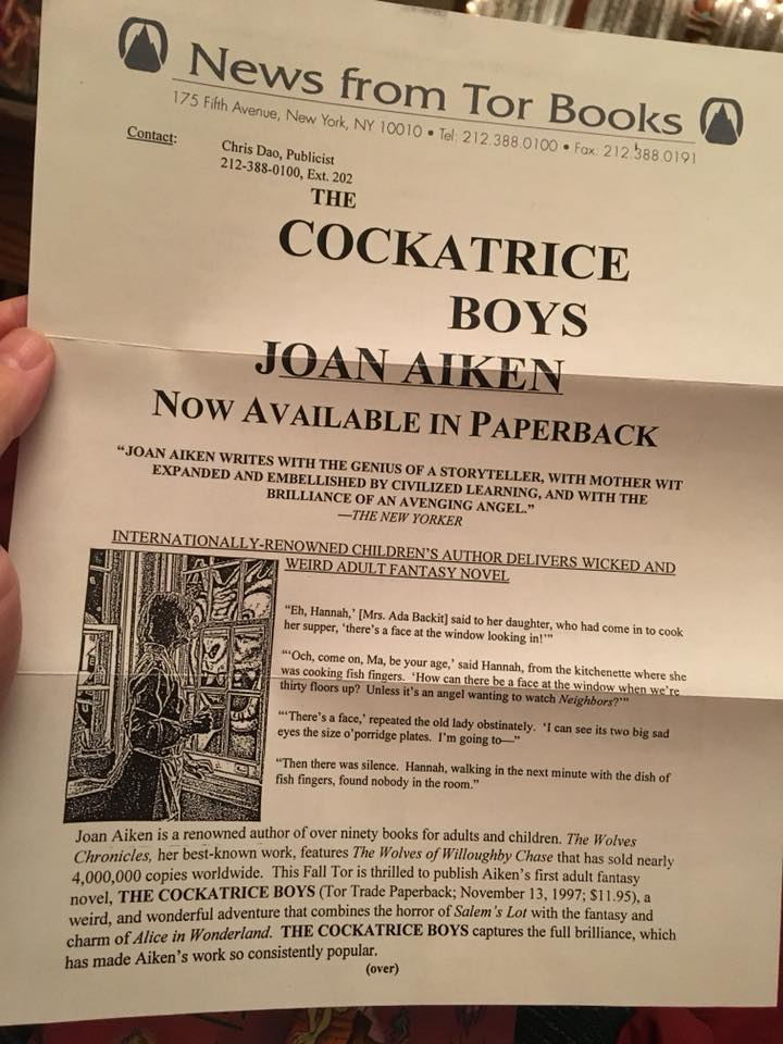 The Cockatrice Boys Joan Aiken-release