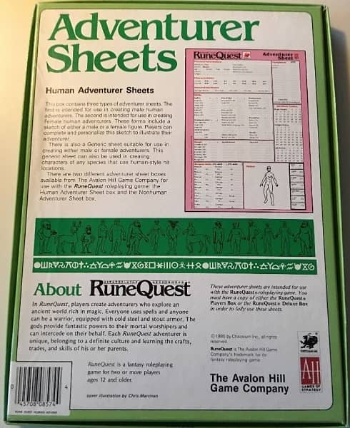 RuneQuest Adventurer Sheets Human-back-small