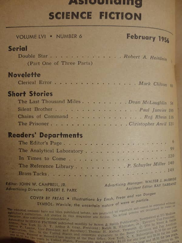 Astounding Science Fiction February 1956 contents-small