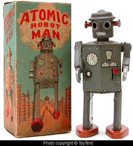Atomic Robot Man with box