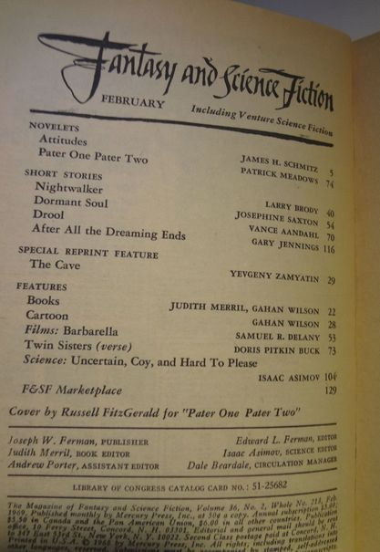 Fantasy and Science Fiction February 1969 TOC-small