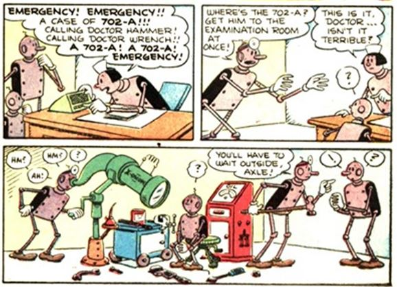 Axle and Cam on the Planet Meco Popeye #28 3 panel