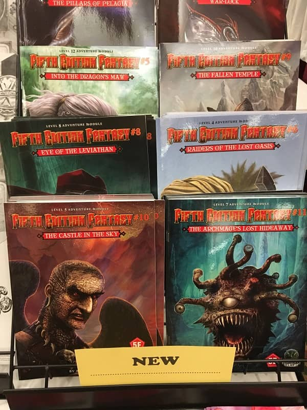 Fifth Edition Fantasy in the Goodman Games booth at Gary Con 2018-small