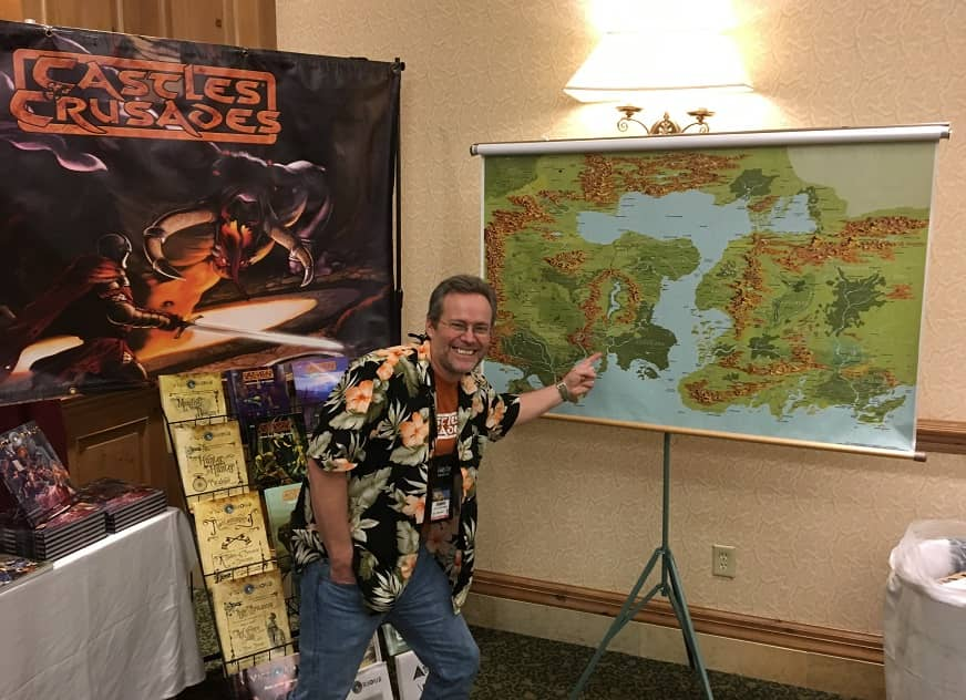 Stephen Chenault and his awesome map at Gary Con 2018-small