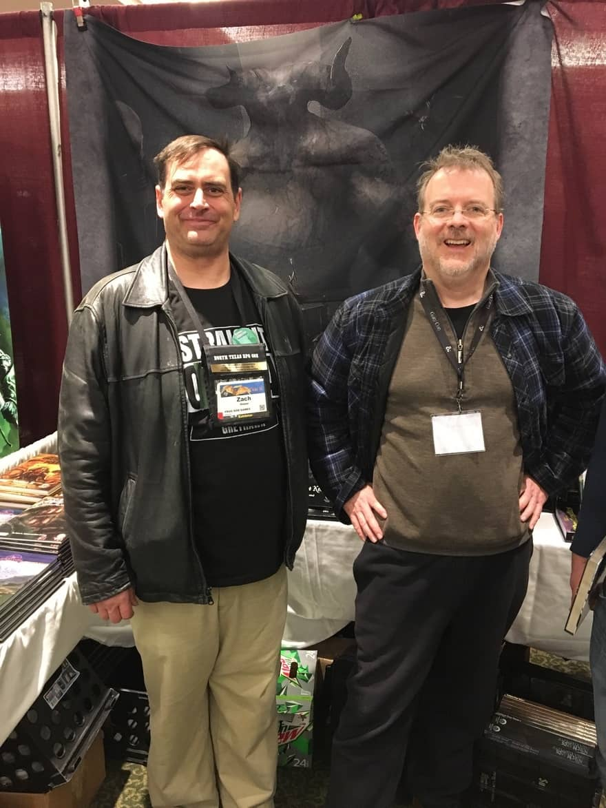 Zach Glazer and John O'Neill at the Frog God booth at Gary Con 2018-small