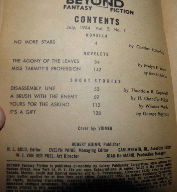 Beyond Fantasy Fiction July 1954-contents-small
