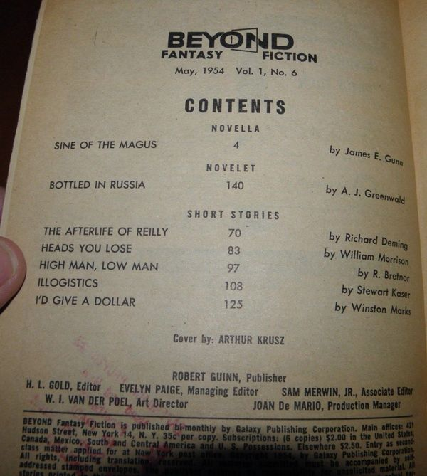 Beyond Fantasy Fiction May 1954 contents-small