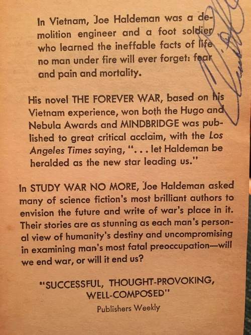 Study War No More Joe Haldeman inside cover-small
