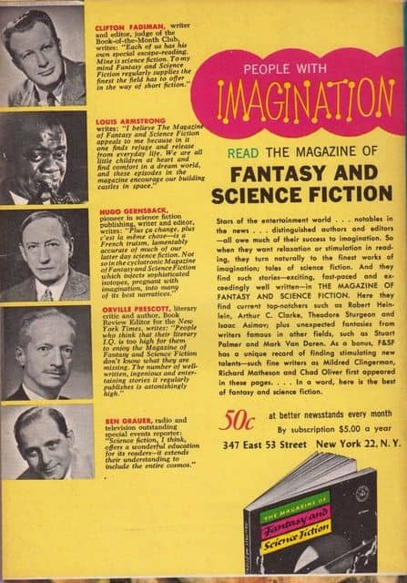 The Magazine of Fantasy and Science Fiction March 1967-back-small