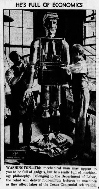 1936-05-14 Baltimore Evening Sun 26 Dept. Labor robot illus