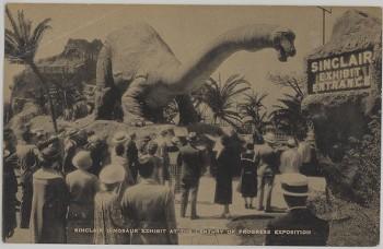 Sinclair Oil Dinosaur exhibit postcard