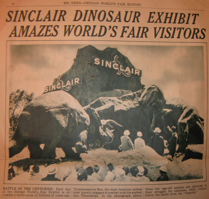 Sinclair Oil Dinosaur newspaper t rex. vs. triceratops cropped
