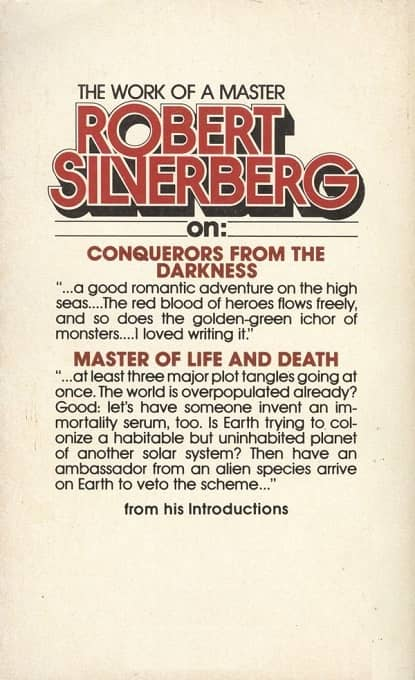 Conquerors from the Darkness Master of Life and Death Silverberg-back-small