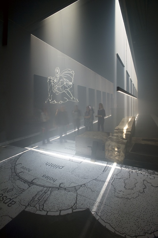 059714003 a mock up of London Mithraeum to test the light sculpture (c) MOLA