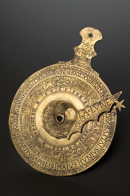 Prognosticator, brass, inscribed with date 1538, probably French.