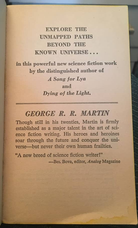 Songs of Stars and Shadows George RR Martin-inside flap-small