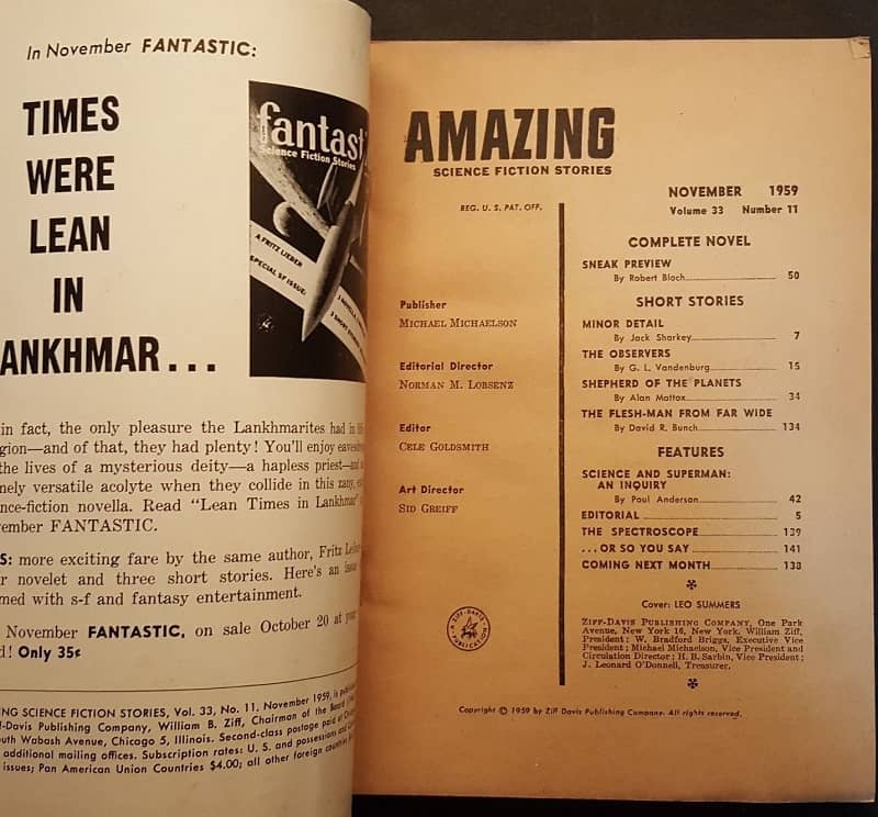 Amazing Science Fiction November 1959 contents-small