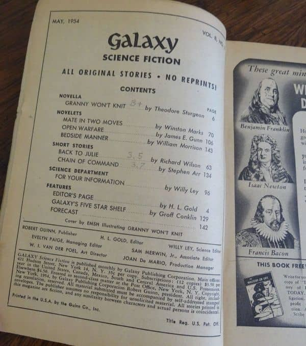 Galaxy May 1954 contents-small