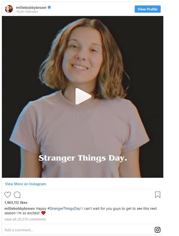 Millie Bobby Brown Stranger Things Day