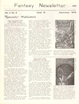 Fantasy Newsletter September 1979