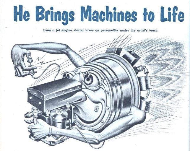 Mechanix Illustrated Oct. 1954, 84 Boris Artzybasheff Brings Machines to Life