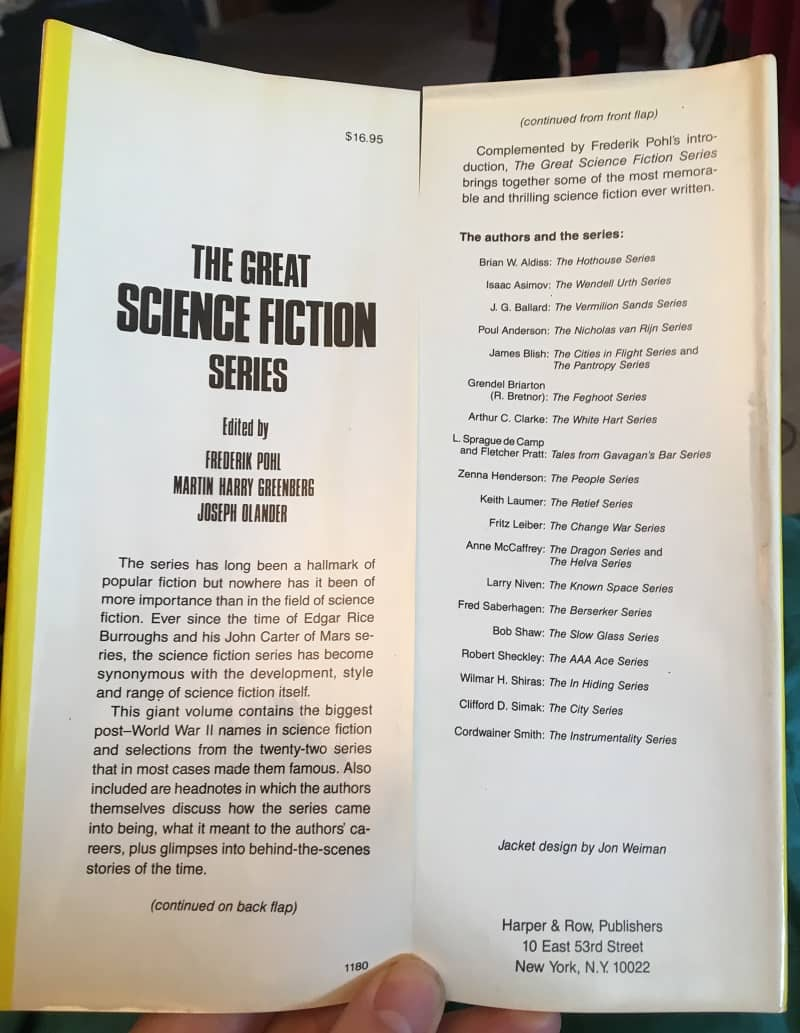 The Great Science FIction Series Pohl Greenberg Olander jacket flap-small