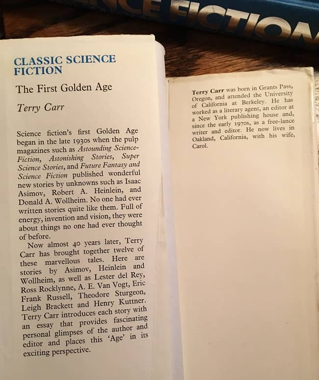 Classic Science Fiction The First Golden Age UK jacket flap-small