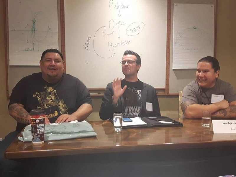Jay Odjick, Brandon Crilly, and Waubgeshig Rice at Can-Con-small
