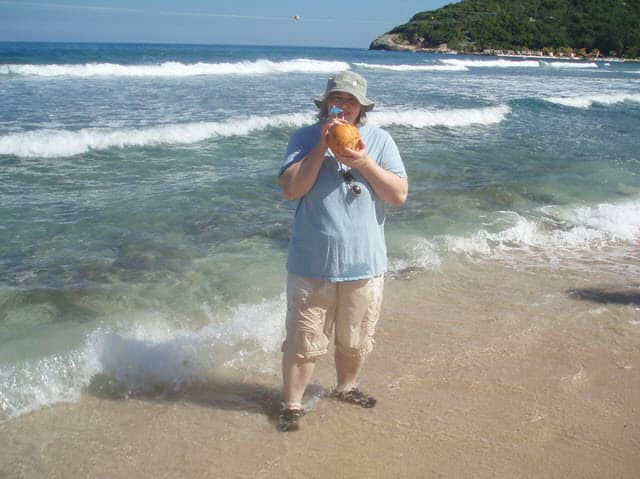 My wife on Labadee with... uh... not a board game