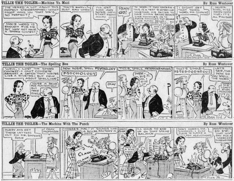 1933-07-20,21,22 Akron Beacon Journal Tillie the Toiler robot cartoons