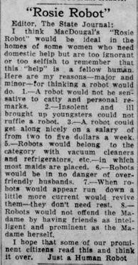 1933-08-29 {Madison] Wisconsin State Journal 4 rosie robot