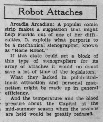 1933-09-09 Tampa Tribune 6 comment on Tillie robot