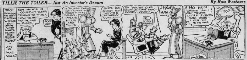 1933-10-16 Akron Beacon Journal 25 Tillie the Toiler robot cartoon