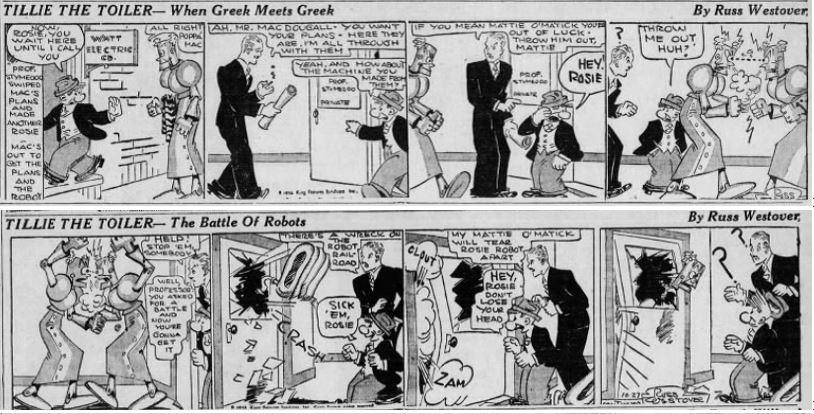 1933-10-26,27 Akron Beacon Journal 47 Tillie the Toiler robot cartoon