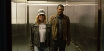 "This image released by Disney-Marvel Studios shows Brie Larson, left, and Samuel L. Jackson in a scene from ""Captain Marvel."" (Disney-Marvel Studios via AP)"