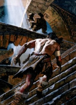 Gregory Manchess from Del Rey's 'The Conquering Sword of Conan' (colorized)