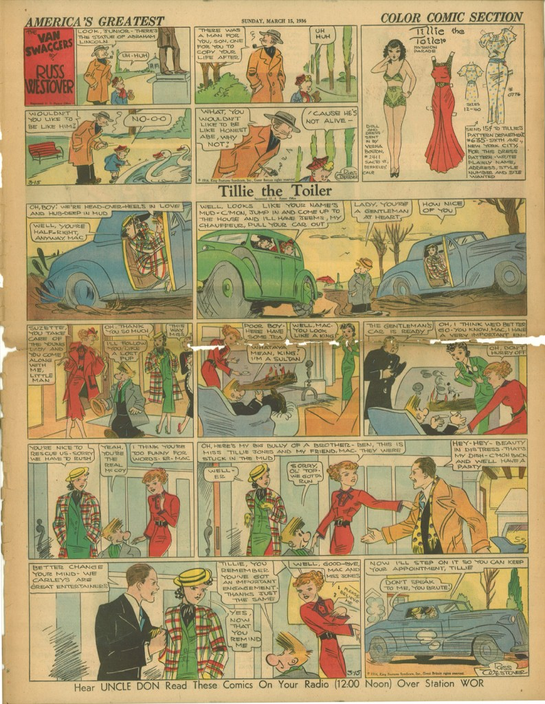 Tillie the Toiler Sunday Strip, March 15, 1936