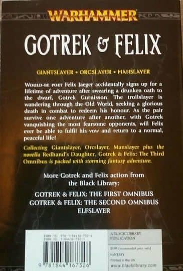 Gotrek & Felix The Third Omnibus first print-back-small