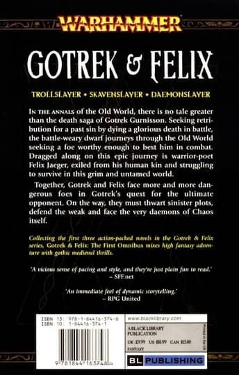 Gotrek and Felix Volume 1 first print-back-small
