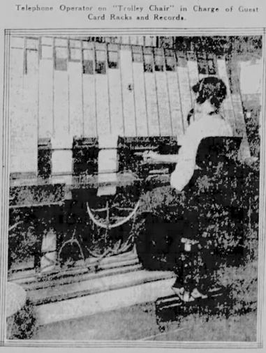 Telephone Operator on Trolley Chair