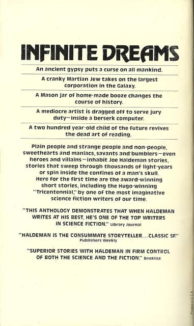 Infinite Dreams Joe Haldeman-back-small