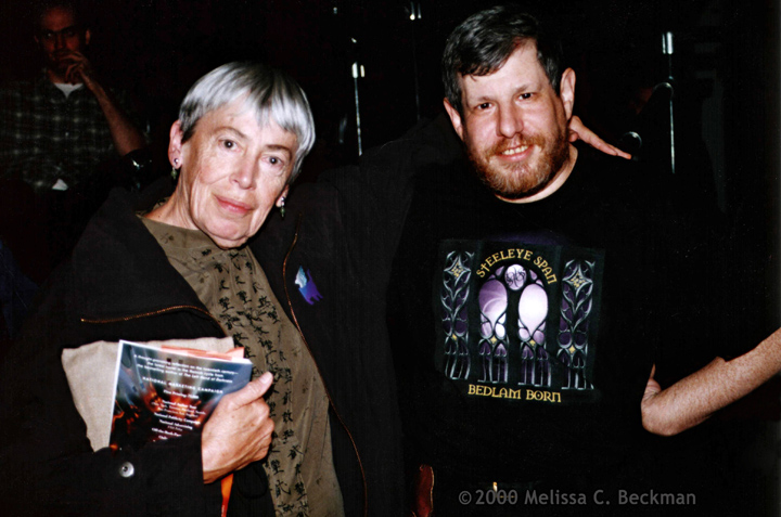 Author Ursula K LeGuin and Jim Freund at a NYRSF reading in New York City in 2000. Photo by Melissa Beckman.