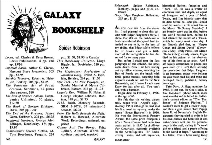 Spider Robinson Galaxy Bookshelf November 1976-small
