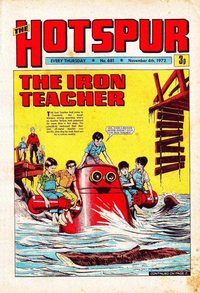 The Hotspur #681, Nov. 4, 1972, new Iron Teacher cover