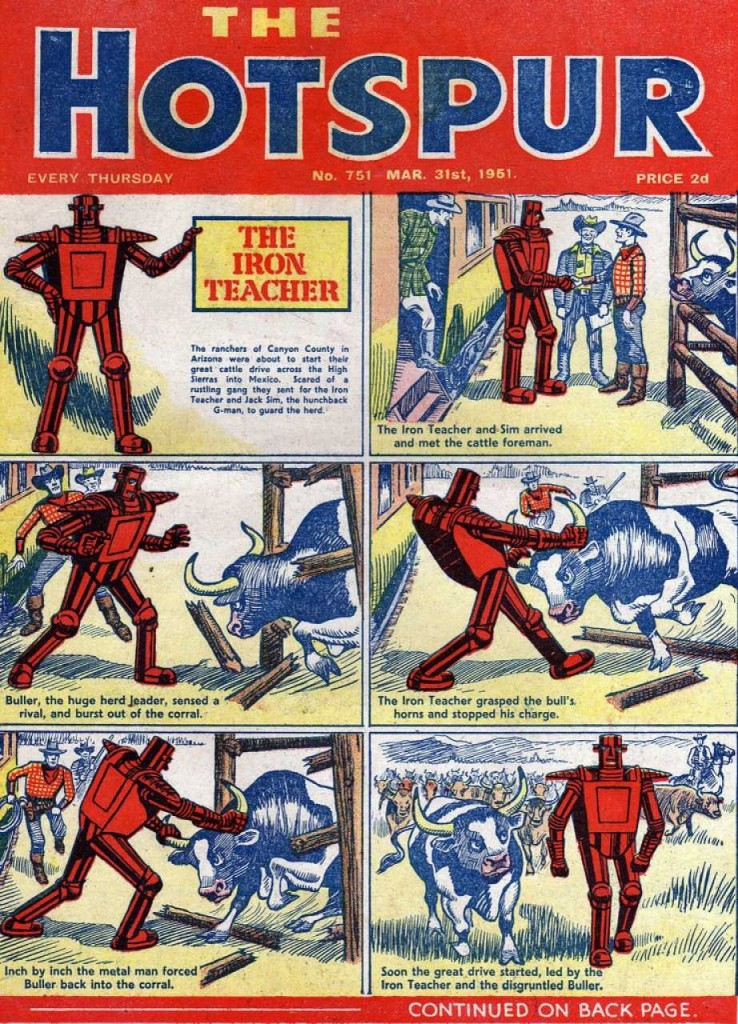 The Hotspur #751, March 31, 1951, The Iron Teacher cover