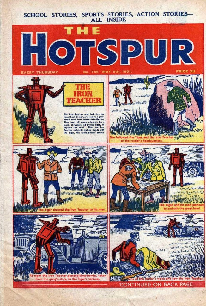 The Hotspur #756, May 5, 1951, The Iron Teacher cover