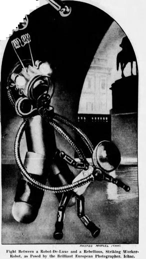 1937-10-17 San Francisco Examiner [American Weekly 3] A Whole World of Metal Men, Robot fight - Copy