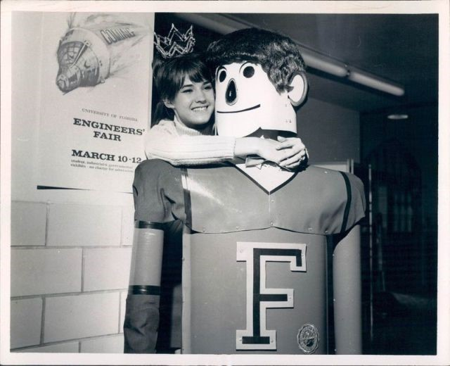 Janis Lynn Biewend, 1967 Engineer's Fair Queen, with Otto the robot